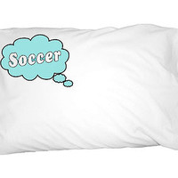 Dreaming of Soccer - Blue Pillowcase