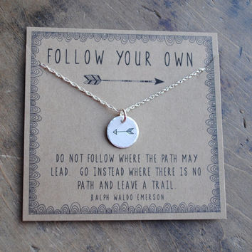 Follow Your Own Arrow Necklace personalized graduation  .  Tiny Arrow inspirational necklace . Graduation Gift  .  Travel Gift Wanderlust