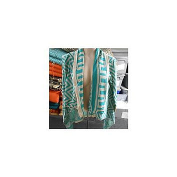 Allison Brittney Women's Open Front Chevron Cardigan, Teal/Tan, Small
