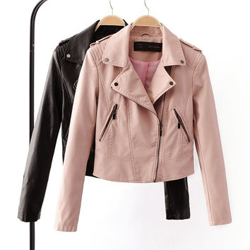 Motorcycle PU Leather 4 Color Zipper Coat