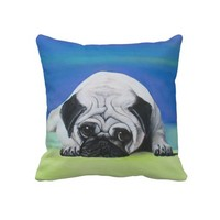 Pug Dog American MoJo Pillow from Zazzle.com