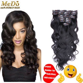 "Hot Sale Malaysian Virgin Hair Clip In Hair Extensions Body Wave 100% Human Hair Clip In Hair 7pieces/Set Natural Black 16""-26"""