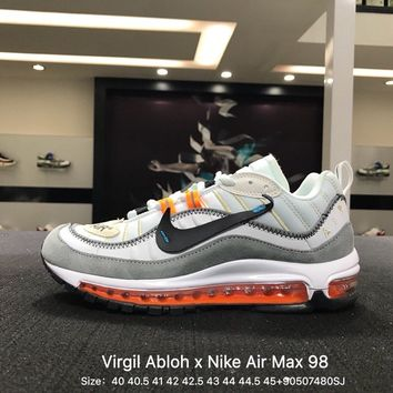 Virgil Abloh x Nike Air Max 98 White Gray Orange Sports Running Shoes Sneaker