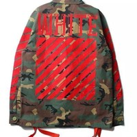 cc hcxx Army x Red Military Off White Jacket