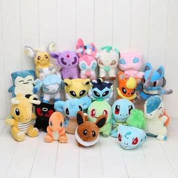 20Pcs/Lot Pocket Doll Mew Lapras Dragonite Eevee Charmander Mudkip Snorlax Sylveon Plush Dolls Toys Stuffed Soft Gift
