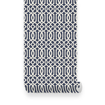 Trellis Pattern Navy Fabric Removable Wallpaper