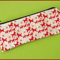 Pencil case horses red on white, writing case