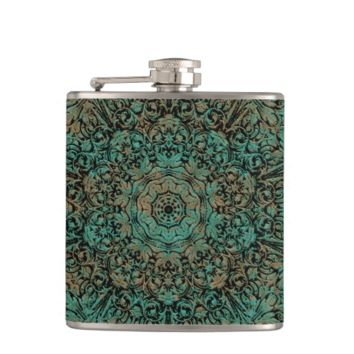 Vintage Copper Patina Floral Pattern Hip Flasks
