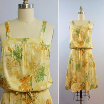 Vintage 1970s Yellow Floral Sundress