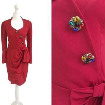 1980's Dress - Jewel Buttons - Palais Royal Paris - 80's Dress - Claret Red Figure Hugging Dress