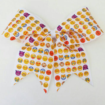 Emoji cheer bow, smiley cheer bow with ponytail holder, happy face bow, cheerleading bow, baton, dance, 3 inch ribbon, 8 inch bow, emoji bow