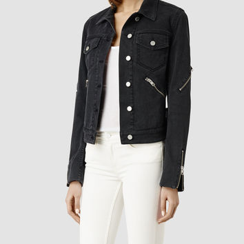 Womens Denim Curtis Jacket (Washed Black) | ALLSAINTS.com