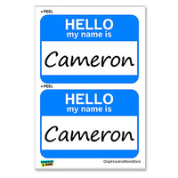 Cameron Hello My Name Is - Sheet of 2 Stickers