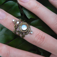 midi white opal glass ring armor ringnail ring claw ring nail tip ring finger tip ring  vampire goth victorian moon goddess pagan boho gypsy