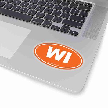 Wisconsin WI Euro Oval Sticker SOLID ORANGE