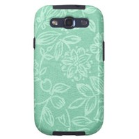Mint Green With Floral Pattern Texture Samsung Galaxy S3 Cases