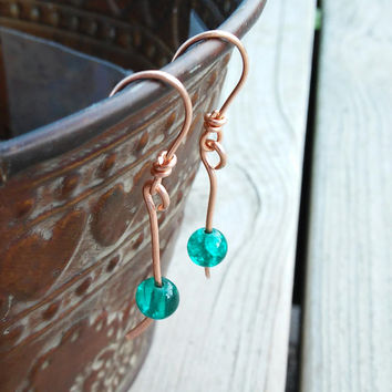 Green Dangle Earrings, Copper Earrings Women, Copper Ear Wires with Beads, French Hook Earrings