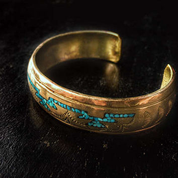 Nakai Bronze Cuff / Bracelet with Turquoise Inlay