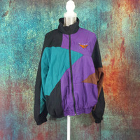 Nike Flight Windbreaker Vintage Mens Large Retro 90s Hip Hop ColorBlock Nylon 80s Jacket Streetwear Clothes Jordan Color Block Baggy Coat