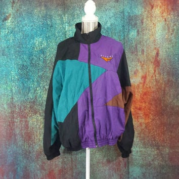 3c64d7c44f5d Nike Flight Windbreaker Vintage Mens Large Retro 90s Hip Hop ColorBlock  Nylon 80s Jacket Streetwear Clothes