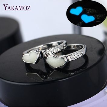 Best Friends Fashion Luminous Ring Glowing in Dark Silver Color Rings For Women and Couple Vintage Jewelry Christmas Gifts 2018