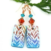 Botanical Leaf Print Earrings, Colorful Polymer Clay Crystal Handmade Jewelry
