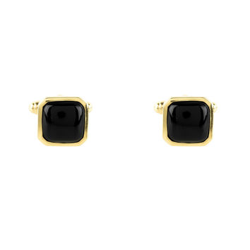 Cushion Cufflink Gold Black Onyx