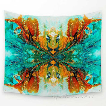 Wall Tapestries, Wall Hanging Tapestry, Teal, Turquoise, Burnt Orange, Abstract Tapestry, Wall Decor, Home Accents, Sofa Throws, Bedspread