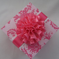 Wedding favor gift box - Wedding place card holder - gift box - handmade - paper - wedding - pink - white