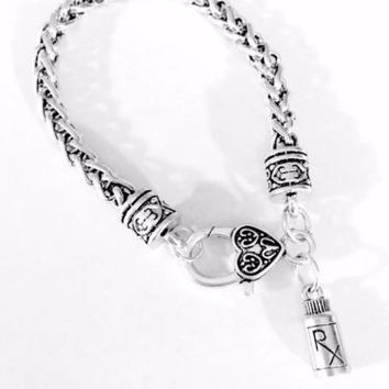 RX Medicine Pharmacy Nurse Medical Mother's Day Graduation Gift Charm Bracelet