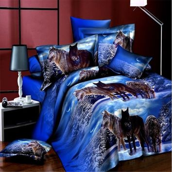 Wolf Bedding Sets 3D Bedclothes Duvet Cover Sets Bed linen bed sheet sets bed sheet Twin/Queen size