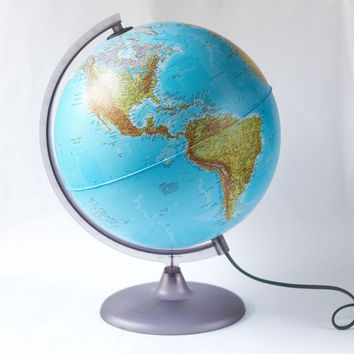 Blue Illuminated Globe Ball - double-effect cartography globe - lighted world Globe Italy made - home décor globe Physical Political