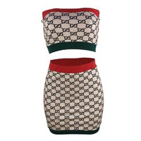 GUCCI New fashion more letter print strapless top and skirt two piece suit
