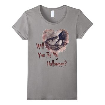 Skeleton Rose Gothic Halloween Couples Romantic Love T-shirt
