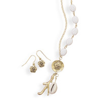 Gold Tone Shell Charm Necklace and Earring Set
