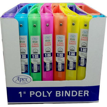 Assorted Neon 3 Ring 1 Inch Vinyl Binder