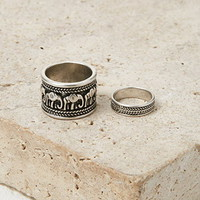Etched Elephant Midi Ring Set