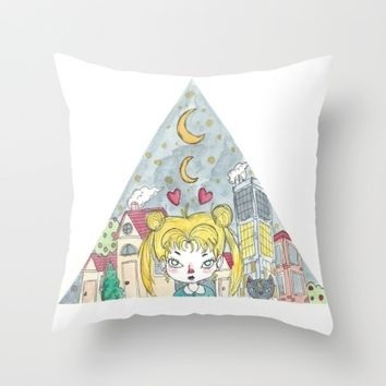 sailor moon and luna Throw Pillow by It Says Error