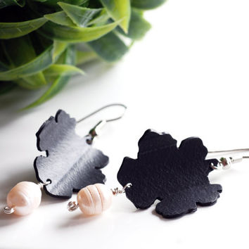 Up-cycled inner tube flower earrings with white pearls , black flower pearl earrings , recycled rubber dangle earrings, handmade eco jewelry