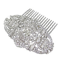 EVER FAITH Bridal Art Deco Hair Comb Clear Austrian Crystal Silver-Tone