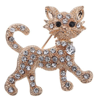 Gold Plated Full Shining Clear Crystal Cat Brooches and Pins Wedding for  excellent Women Gift (Color: Gold) = 1929755844