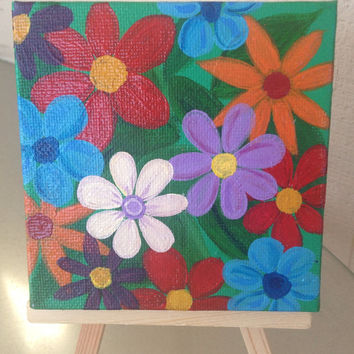 Happy Flowers Mini 2x2 with easel FREE shipping abstract acrylic happy hippy bohemian floral