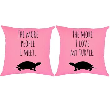 I Love My Turtle Throw Pillows