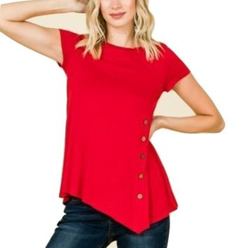 Women's Solid Red Tunic Top Side Buttons:  S/M/L/XL