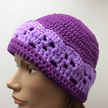 Lady's purple skull beanie, hand crochet, ski hat, gift idea, stocking stuffer, winter beanie, snow hat, handmade, ATV riding hat