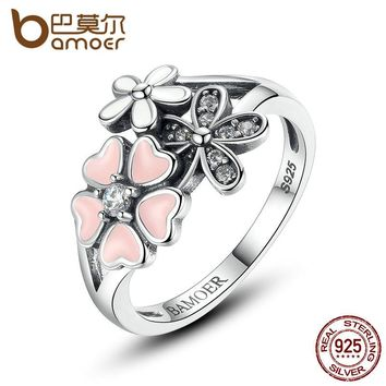 925 Sterling Silver Pink Flower Poetic Daisy Cherry Blossom Finger Ring for Women Engagement Fashion Jewelry SCR004