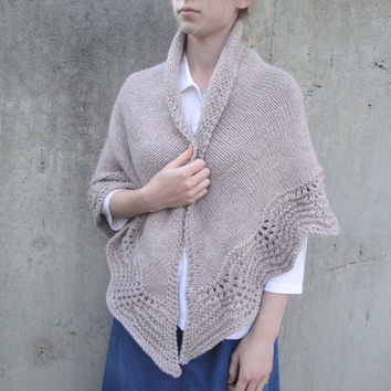 Lace Edged Shawl, Hand Knit, Light Brown, Prayer Shawl Wrap, Thick & Warm