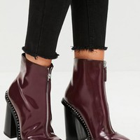 Missguided - Burgundy Front Zip Pointed Ankle Boots