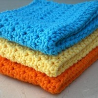 Crochet Cotton Dishcloths Kitchen Bright Orange, Blue, Yellow