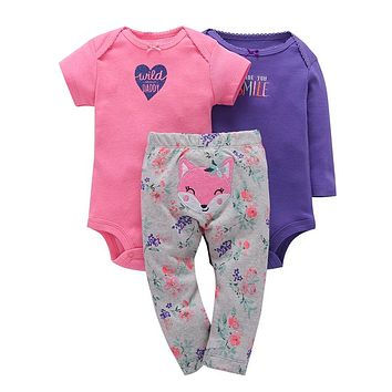 Newborn baby girl clothes cotton o-neck romper+animal fox pants 3pcs clothing set smile letter with heart print casual